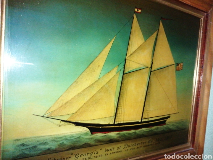 Antigüedades: Stunning antique Victorian reverse painted glass picture of the schooner Georgia - Foto 10 - 190010778