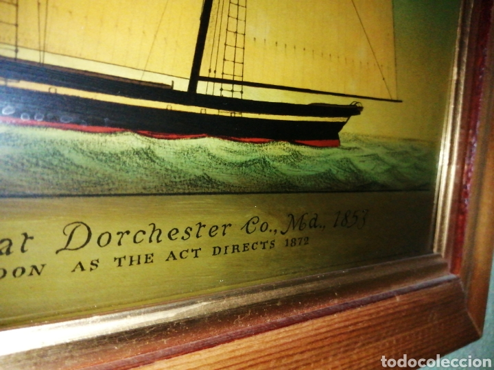 Antigüedades: Stunning antique Victorian reverse painted glass picture of the schooner Georgia - Foto 11 - 190010778