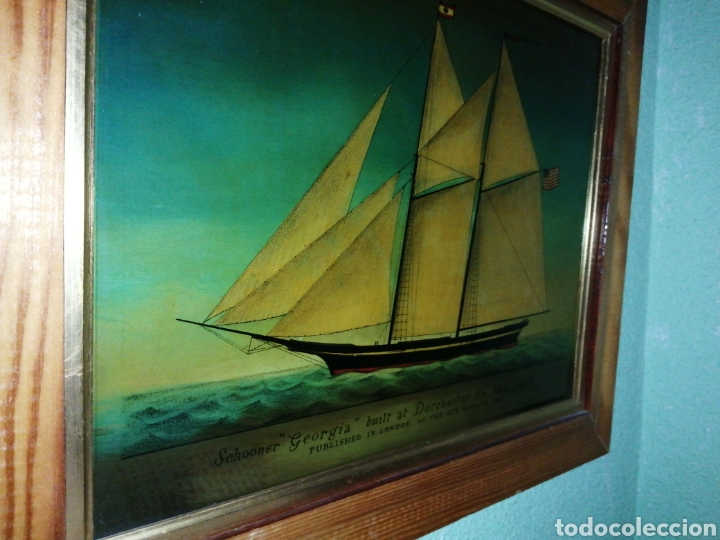 Antigüedades: Stunning antique Victorian reverse painted glass picture of the schooner Georgia - Foto 12 - 190010778