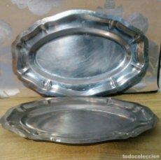 Antigüedades: PAR BANDEJAS DE ALPACA. Lote 190088335