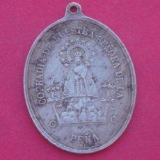 Antigüedades: GRAN MEDALLA SIGLO XIX COFRADÍA VIRGEN DE LA PEÑA. BRIHUEGA. GUADALAJARA.. Lote 190089451