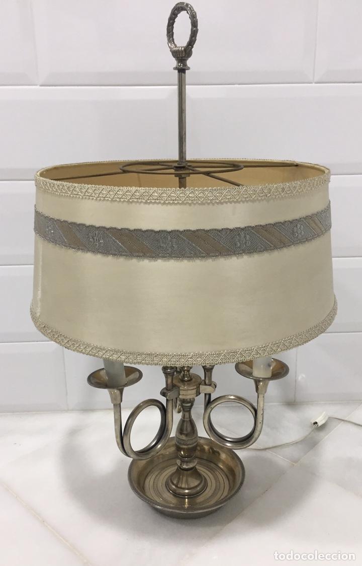 ANTIGUA LÁMPARA FRANCESA BOUILLOTTE BRONCE PLATEADO (Antigüedades - Iluminación - Lámparas Antiguas)