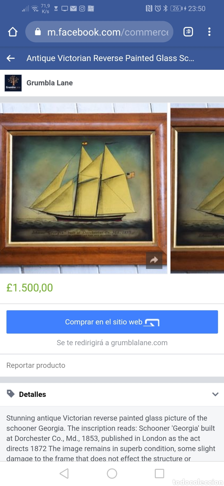 Antigüedades: Stunning antique Victorian reverse painted glass picture of the schooner Georgia - Foto 14 - 190010778