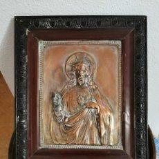 Antigüedades: ANTIGUO CUADRO CORAZÓN DE JESÚS EN RELIEVE . Lote 190128281