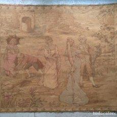 Antigüedades: TAPIZ FRANCES CON ESCENA GALANTE. AÑOS 40. 115 X 100 CM (APROX). Lote 190129911