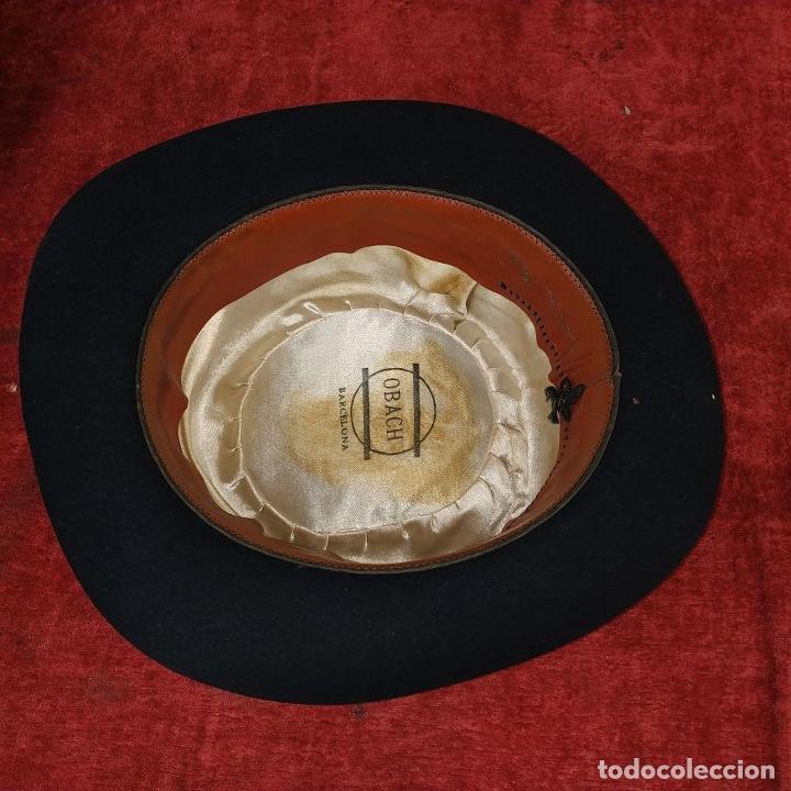 Antigüedades: SOBRERO DE CABALLERO. FIELTRO NEGRO. OBACH, BARCELONA. CIRCA 1930 - Foto 9 - 190132402
