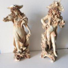 Antigüedades: PAREJA DE FIGURAS GALANTES -BISCUIT ALEMANES/AUSTRIA,ÉPOCA ART DECÓ. Lote 190158585