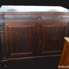 Antigüedades: APARADOR COMODA CON CAJONES INTERIORES PALOSANTO Y MARMOL NEGRO. Lote 190197782