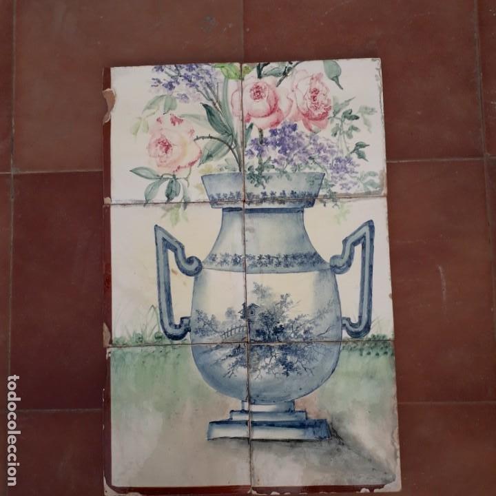 P5-M PANEL 6 AZULEJOS ANTIGUOS PINTADOS A MANO (Antigüedades - Porcelanas y Cerámicas - Azulejos)