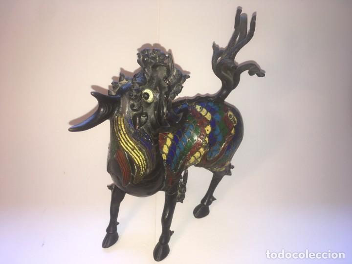 Antigüedades: Unicornio-incensario de bronce y esmalte cloisoné/Qilin-Bronze-enamel incense burner. China, s. XIX - Foto 3 - 190219636