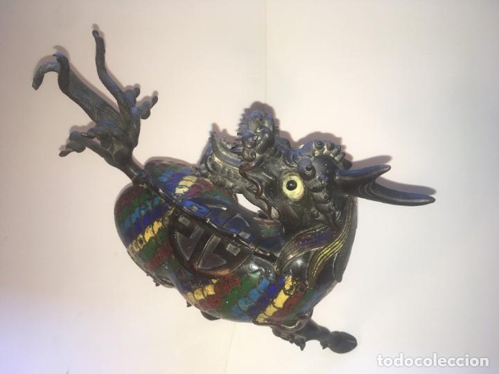 Antigüedades: Unicornio-incensario de bronce y esmalte cloisoné/Qilin-Bronze-enamel incense burner. China, s. XIX - Foto 5 - 190219636