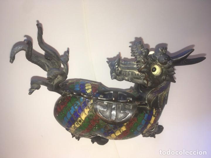 Antigüedades: Unicornio-incensario de bronce y esmalte cloisoné/Qilin-Bronze-enamel incense burner. China, s. XIX - Foto 6 - 190219636