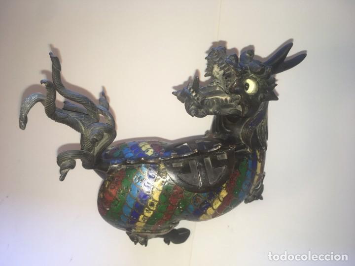 Antigüedades: Unicornio-incensario de bronce y esmalte cloisoné/Qilin-Bronze-enamel incense burner. China, s. XIX - Foto 7 - 190219636
