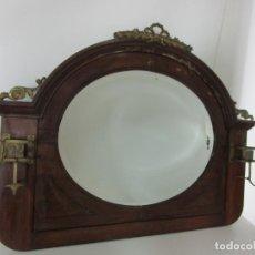 Antigüedades: CURIOSO ESPEJO ART DECÓ - PERCHERO - ESPEJO OVALADO - MADERA DE CAOBA - PERCHAS DE BRONCE - AÑOS 20. Lote 190274535