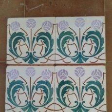 Antigüedades: AZ-83A 4 AZULEJOS MODERNISTAS ART NOUVEAU. Lote 190274683