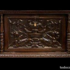 Antigüedades: PRECIOSO BARGUEÑO / ESCRITORIO / PAPELERA EN ROBLE . Lote 190281471