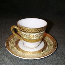 Antigüedades: TAZA DE CAFE Y PLATILLO LIMOGES ANTIGUO. Lote 190288568