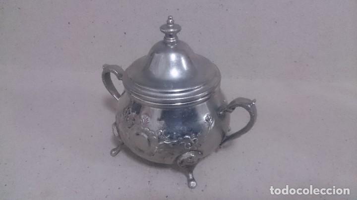Antigüedades: Tetera y azucarero de metal - Foto 3 - 190306711