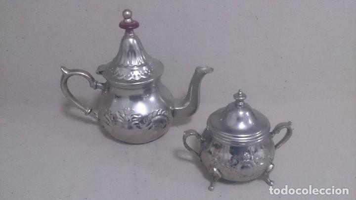 Antigüedades: Tetera y azucarero de metal - Foto 14 - 190306711