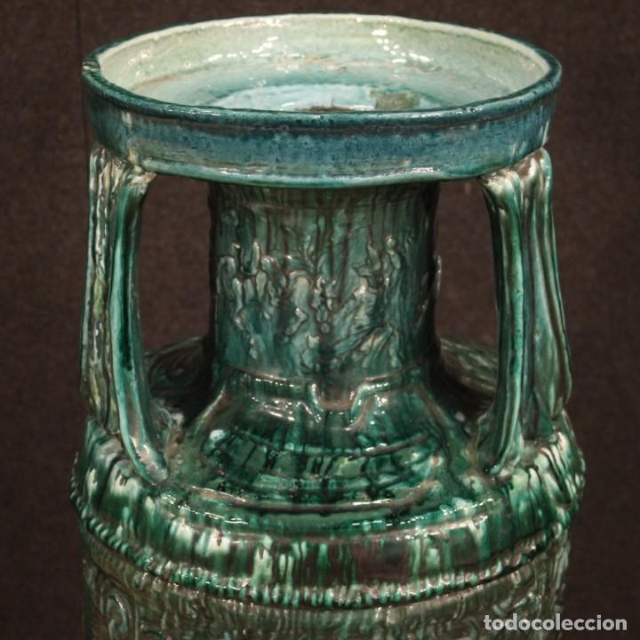 Antigüedades: Italiano florero verde terracota vidriada - Foto 2 - 190317157