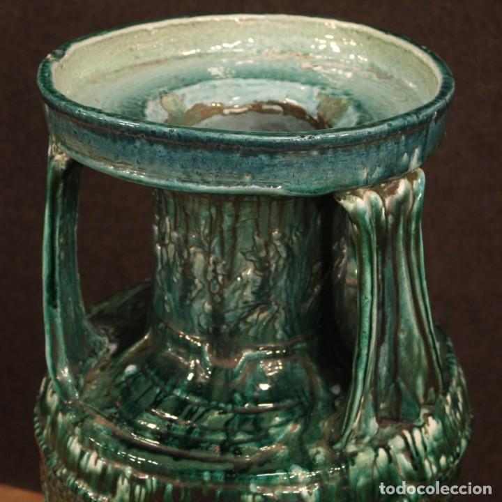 Antigüedades: Italiano florero verde terracota vidriada - Foto 5 - 190317157