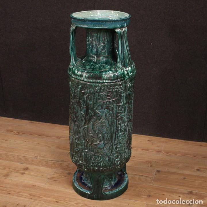 Antigüedades: Italiano florero verde terracota vidriada - Foto 6 - 190317157