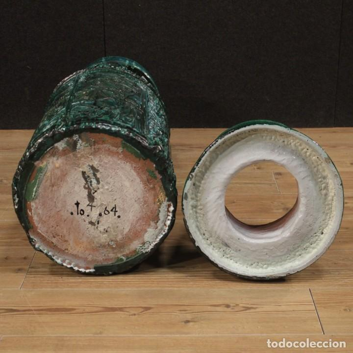 Antigüedades: Italiano florero verde terracota vidriada - Foto 12 - 190317157