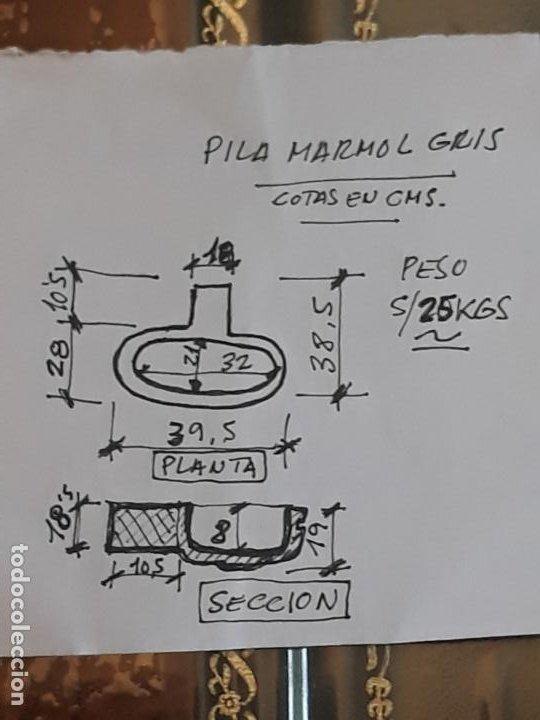 Antigüedades: PILA ANTIGUA PARA AGUA BENDITA EN MARMOL PULIDO GRIS - SIGLO XVII. - Foto 10 - 190370143
