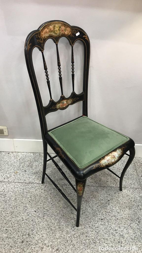 Antigüedades: Silla Napoleón III ebonizada y pintada a mano, S.XIX - Foto 4 - 190373293