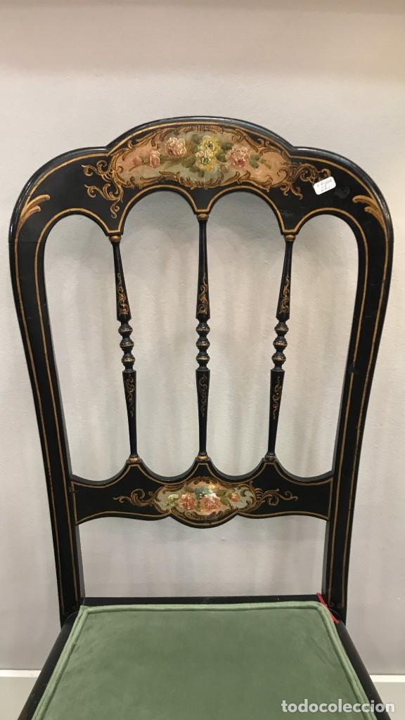 Antigüedades: Silla Napoleón III ebonizada y pintada a mano, S.XIX - Foto 5 - 190373293