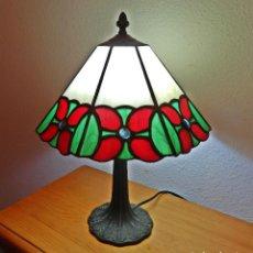 Antigüedades: LAMPARA TIFFANY MESILLA CRISTAL VIDRIO PIE BRONCE GRANDE 100% HECHO A MANO. Lote 190386188