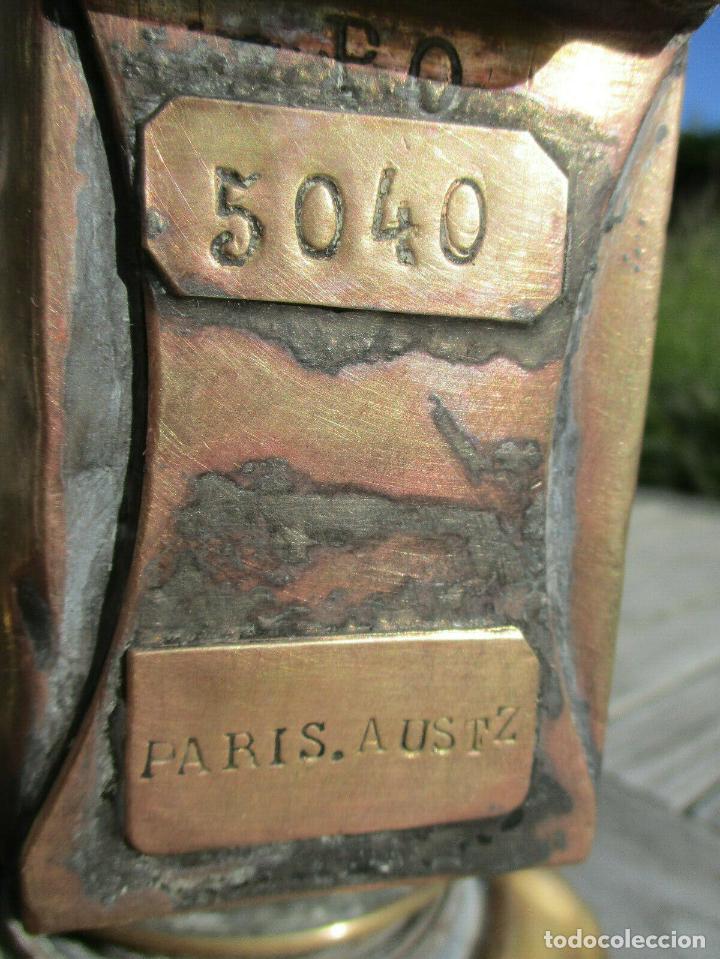 Antigüedades: LINTERNA - TREN - SNCF - LÁMPARA MUY ANTIGUA DE ACEITE O ACETILENO FIRMADO Paris Austz P.O. 5040 - Foto 5 - 190397326