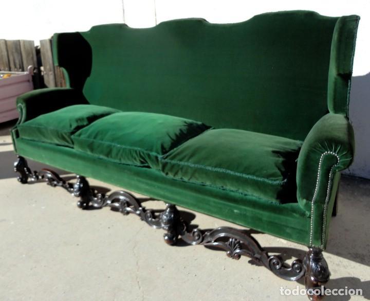 Antigüedades: Sofa y dos sillones orejeros SXIX, terciopelo verde, patas talladas . solo recogida en almacen - Foto 5 - 190432452