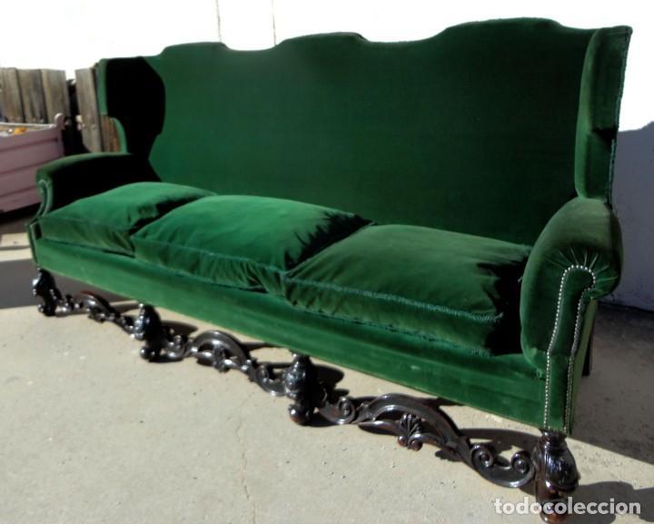 Antigüedades: Sofa y dos sillones orejeros SXIX, terciopelo verde, patas talladas . solo recogida en almacen - Foto 6 - 190432452