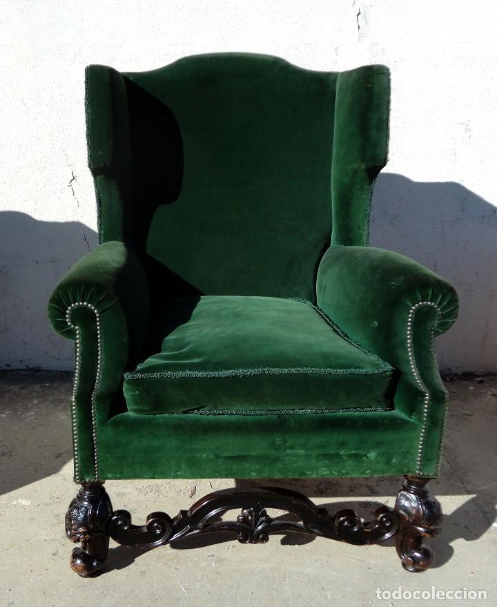Antigüedades: Sofa y dos sillones orejeros SXIX, terciopelo verde, patas talladas . solo recogida en almacen - Foto 14 - 190432452