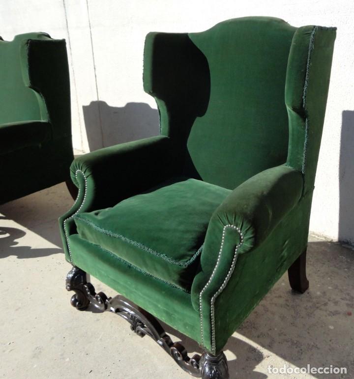 Antigüedades: Sofa y dos sillones orejeros SXIX, terciopelo verde, patas talladas . solo recogida en almacen - Foto 16 - 190432452