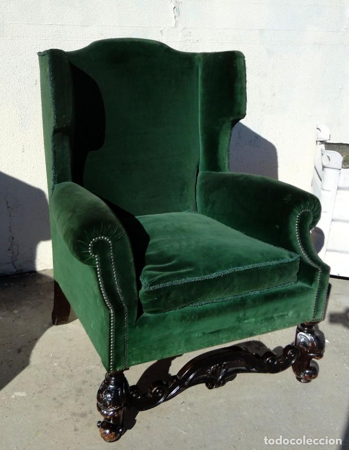 Antigüedades: Sofa y dos sillones orejeros SXIX, terciopelo verde, patas talladas . solo recogida en almacen - Foto 17 - 190432452