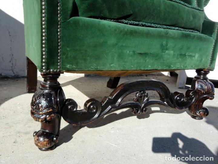 Antigüedades: Sofa y dos sillones orejeros SXIX, terciopelo verde, patas talladas . solo recogida en almacen - Foto 18 - 190432452