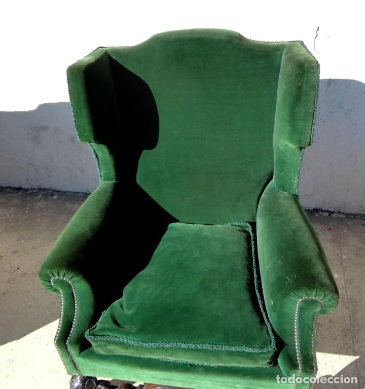 Antigüedades: Sofa y dos sillones orejeros SXIX, terciopelo verde, patas talladas . solo recogida en almacen - Foto 19 - 190432452