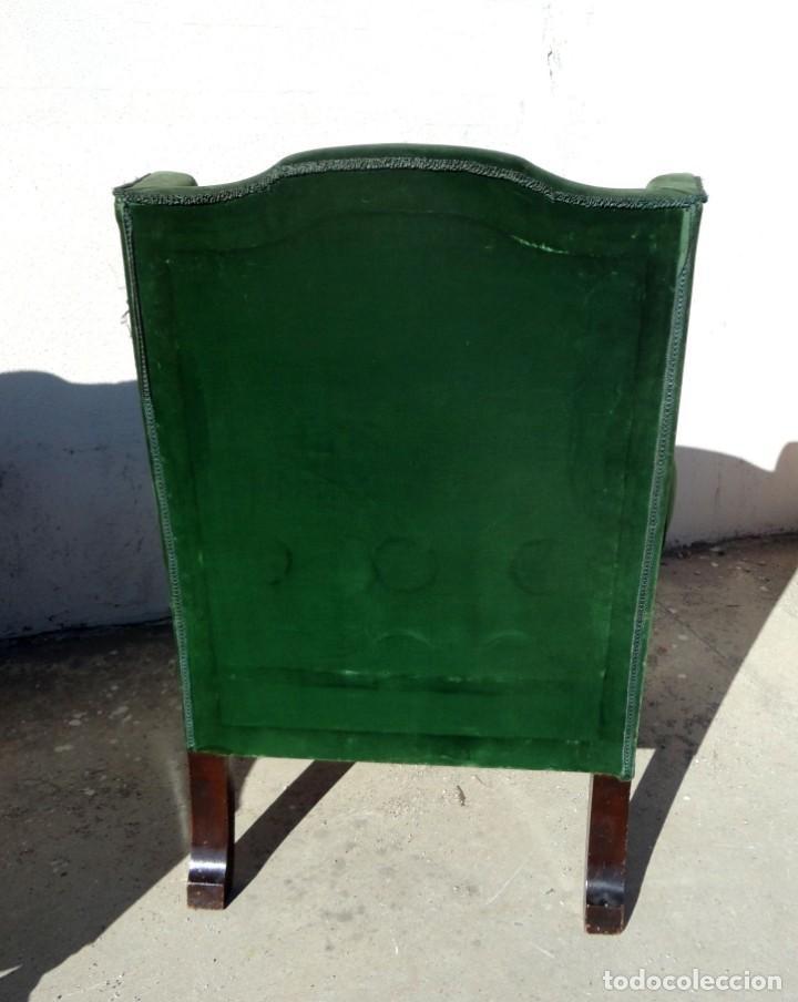 Antigüedades: Sofa y dos sillones orejeros SXIX, terciopelo verde, patas talladas . solo recogida en almacen - Foto 20 - 190432452