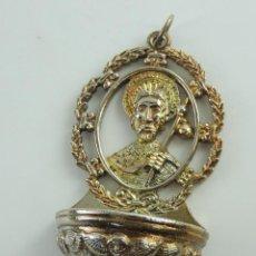 Antigüedades: BENDITERA AGUABENDITERA DE METAL SANTIAGO APÓSTOL DECORACION RELIGIOSA. Lote 190463886