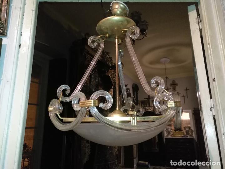 Antigüedades: gran lampara de cristal salon , techo . brazos cristal y tulipa, metal dorado - ancho maximo 50 cm - Foto 4 - 190479520