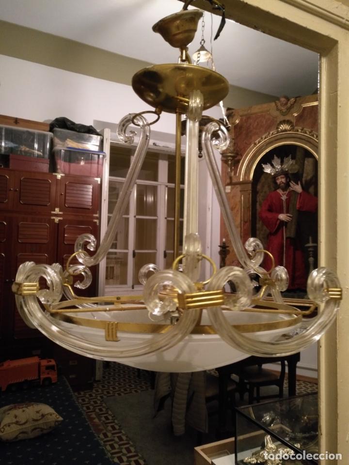 Antigüedades: gran lampara de cristal salon , techo . brazos cristal y tulipa, metal dorado - ancho maximo 50 cm - Foto 5 - 190479520