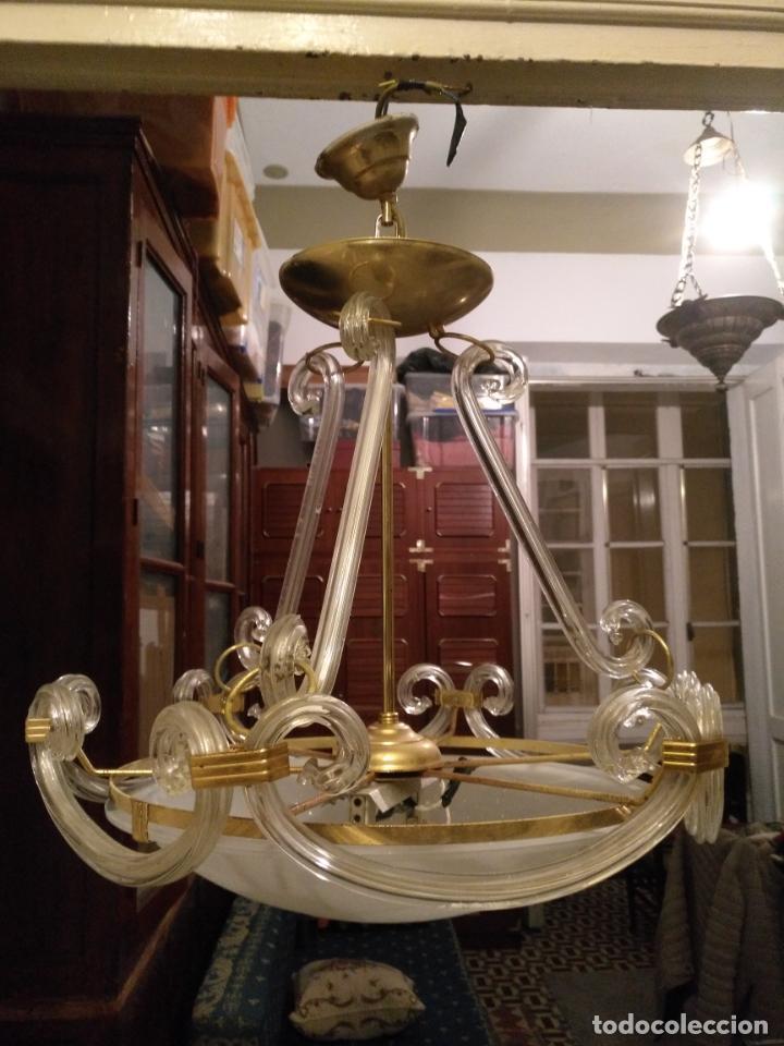 Antigüedades: gran lampara de cristal salon , techo . brazos cristal y tulipa, metal dorado - ancho maximo 50 cm - Foto 6 - 190479520