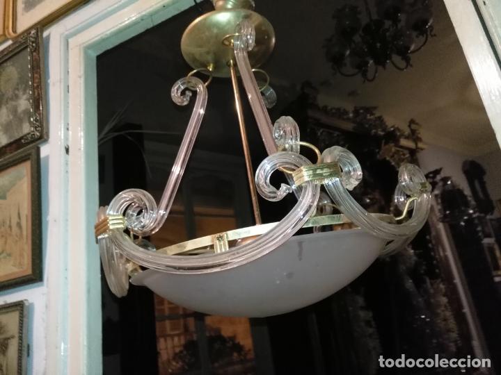 Antigüedades: gran lampara de cristal salon , techo . brazos cristal y tulipa, metal dorado - ancho maximo 50 cm - Foto 7 - 190479520