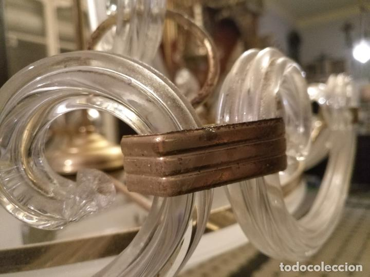Antigüedades: gran lampara de cristal salon , techo . brazos cristal y tulipa, metal dorado - ancho maximo 50 cm - Foto 11 - 190479520