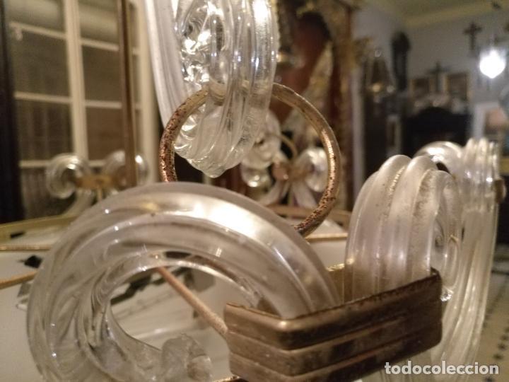 Antigüedades: gran lampara de cristal salon , techo . brazos cristal y tulipa, metal dorado - ancho maximo 50 cm - Foto 12 - 190479520