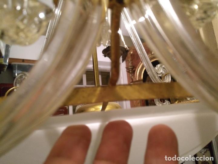 Antigüedades: gran lampara de cristal salon , techo . brazos cristal y tulipa, metal dorado - ancho maximo 50 cm - Foto 16 - 190479520