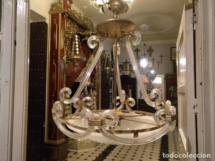Antigüedades: gran lampara de cristal salon , techo . brazos cristal y tulipa, metal dorado - ancho maximo 50 cm - Foto 17 - 190479520