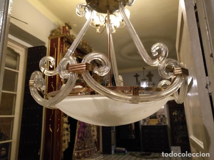 Antigüedades: gran lampara de cristal salon , techo . brazos cristal y tulipa, metal dorado - ancho maximo 50 cm - Foto 18 - 190479520